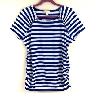 Michael Kors Gathered Striped Tee with Zippers XL